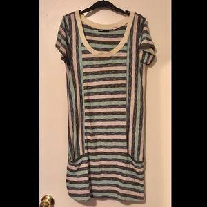 Striped Light Knit T-shirt Dress with Pockets